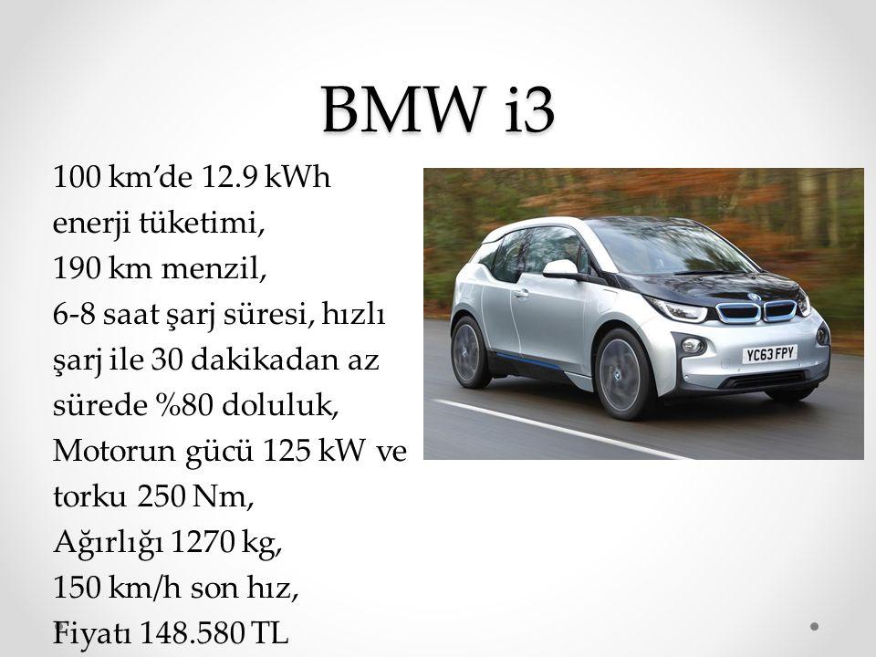 BMW i3 100 km'de 12.9 kWh enerji tüketimi, 190 km menzil, 6-8 saat şarj süresi, hızlı şarj ile 30 dakikadan az sürede %80 doluluk, Motorun gücü 125 kW