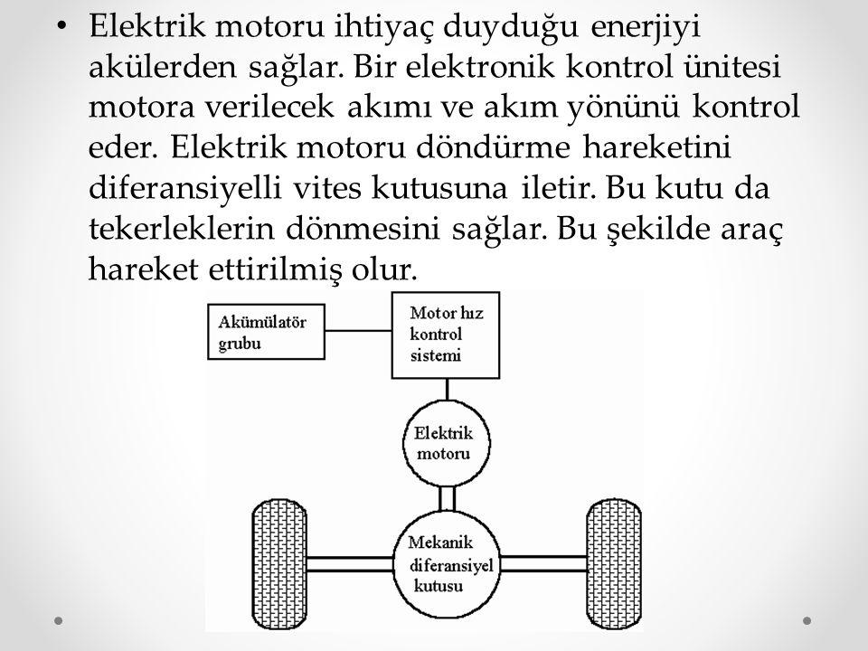 Elektrik motoru ihtiyaç duyduğu enerjiyi akülerden sağlar. Bir elektronik kontrol ünitesi motora verilecek akımı ve akım yönünü kontrol eder. Elektrik