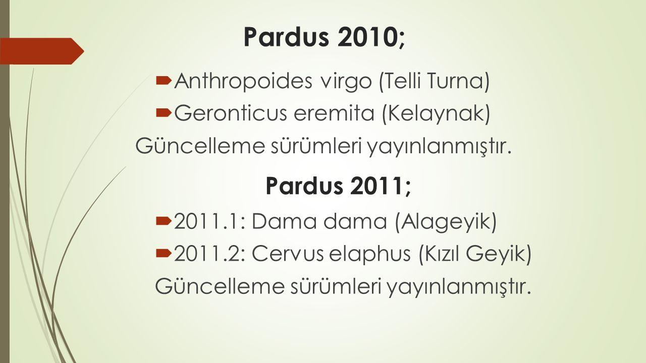 Pardus 2010;  Anthropoides virgo (Telli Turna)  Geronticus eremita (Kelaynak) Güncelleme sürümleri yayınlanmıştır.