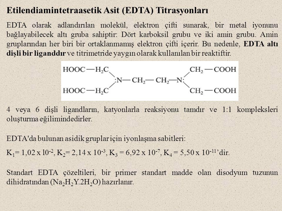 Etilendiamintetraasetik Asit (EDTA) Titrasyonları EDTA olarak adlandırılan molekül, elektron çifti sunarak, bir metal iyonunu bağlayabilecek altı gruba sahiptir: Dört karboksil grubu ve iki amin grubu.