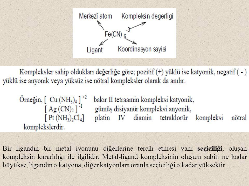Bir ligandın bir metal iyonunu diğerlerine tercih etmesi yani seçiciliği, oluşan kompleksin kararlılığı ile ilgilidir.