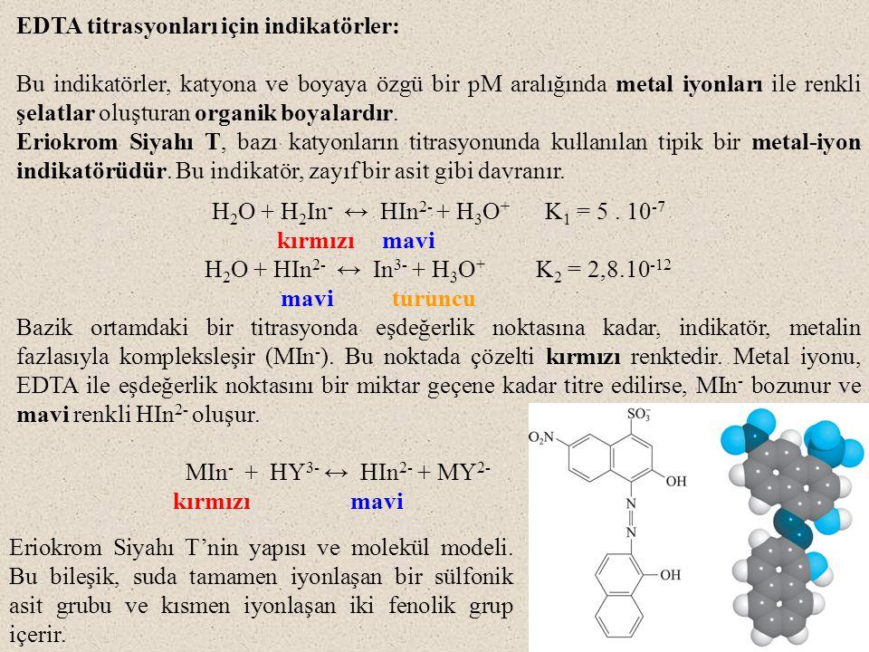 EDTA titrasyonları için indikatörler: Bu indikatörler, katyona ve boyaya özgü bir pM aralığında metal iyonları ile renkli şelatlar oluşturan organik boyalardır.
