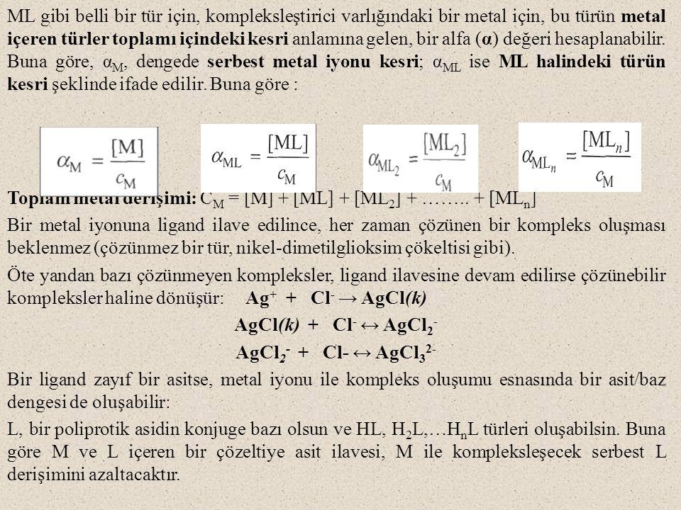 ML gibi belli bir tür için, kompleksleştirici varlığındaki bir metal için, bu türün metal içeren türler toplamı içindeki kesri anlamına gelen, bir alfa (α) değeri hesaplanabilir.