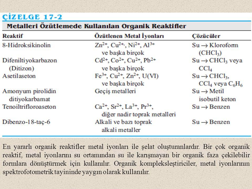 En yararlı organik reaktifler metal iyonları ile şelat oluşturanlardır.