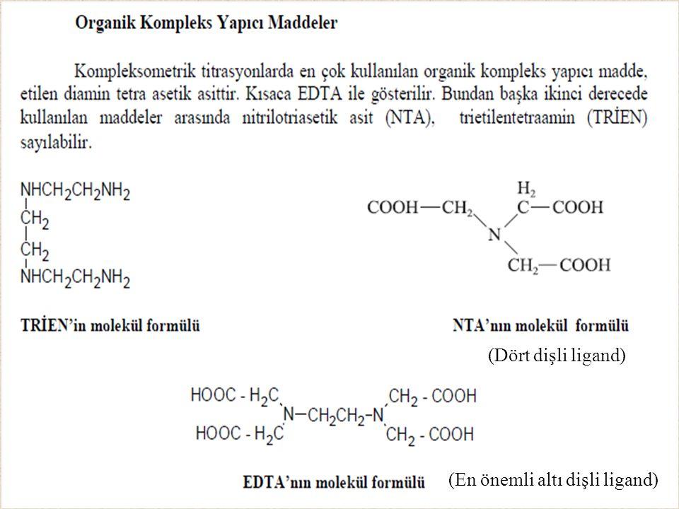 (Dört dişli ligand) (En önemli altı dişli ligand)
