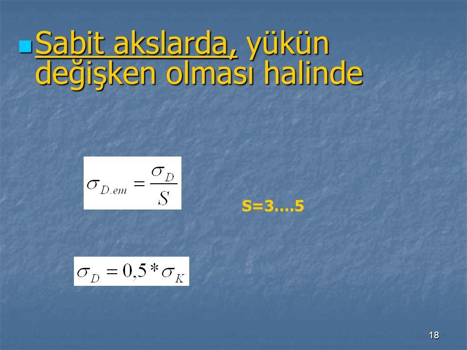 18 Sabit akslarda, yükün değişken olması halinde Sabit akslarda, yükün değişken olması halinde S=3….5