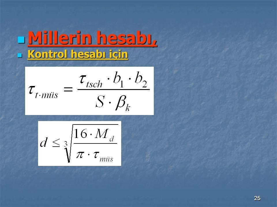25 Millerin hesabı, Millerin hesabı, Kontrol hesabı için Kontrol hesabı için