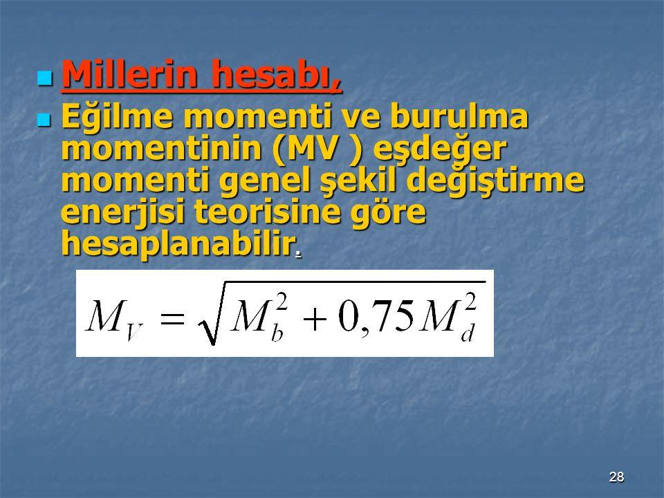 28 Millerin hesabı, Millerin hesabı, Eğilme momenti ve burulma momentinin (MV ) eşdeğer momenti genel şekil değiştirme enerjisi teorisine göre hesapla