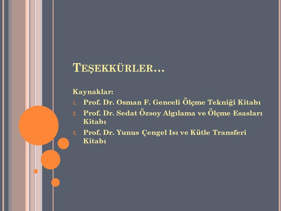 T EŞEKKÜRLER … Kaynaklar: 1. Prof. Dr. Osman F. Genceli Ölçme Tekniği Kitabı 2. Prof. Dr. Sedat Özsoy Algılama ve Ölçme Esasları Kitabı 3. Prof. Dr. Y