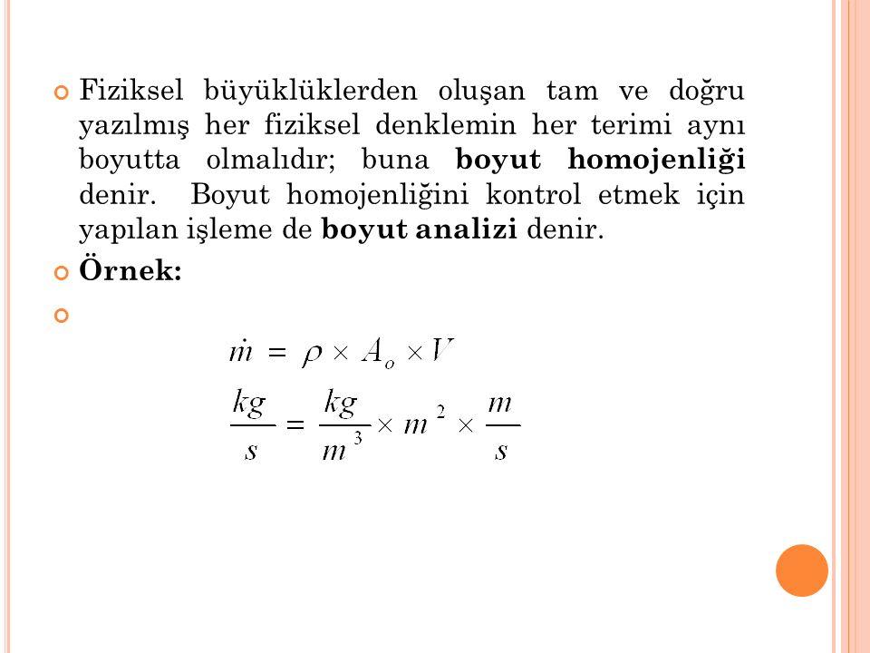 Fiziksel büyüklüklerden oluşan tam ve doğru yazılmış her fiziksel denklemin her terimi aynı boyutta olmalıdır; buna boyut homojenliği denir. Boyut hom