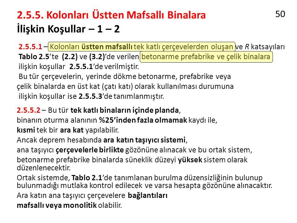 2.5.5. Kolonları Üstten Mafsallı Binalara İlişkin Koşullar – 1 – 2 2.5.5.1 – Kolonları üstten mafsallı tek katlı çerçevelerden oluşan ve R katsayıları