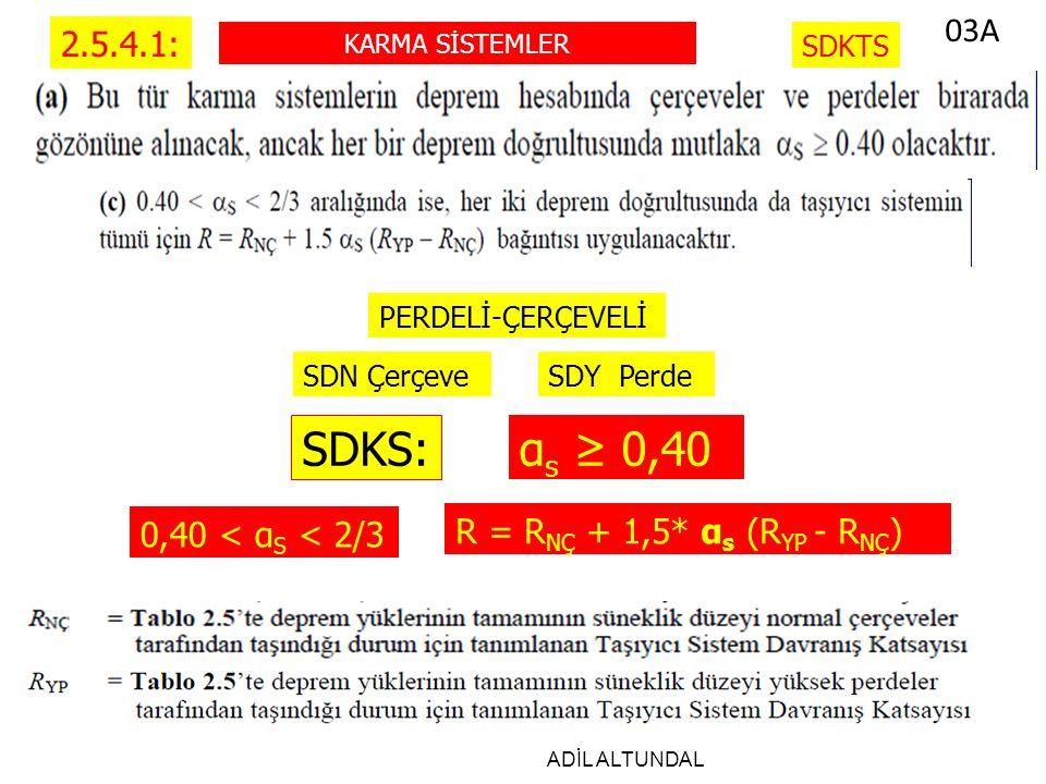 ADİL ALTUNDAL 2.5.4.1: KARMA SİSTEMLER SDKTS SDY PerdeSDN Çerçeve PERDELİ-ÇERÇEVELİ SDKS: α s ≥ 0,40 0,40 < α S < 2/3 R = R NÇ + 1,5* α s (R YP - R NÇ ) 03A