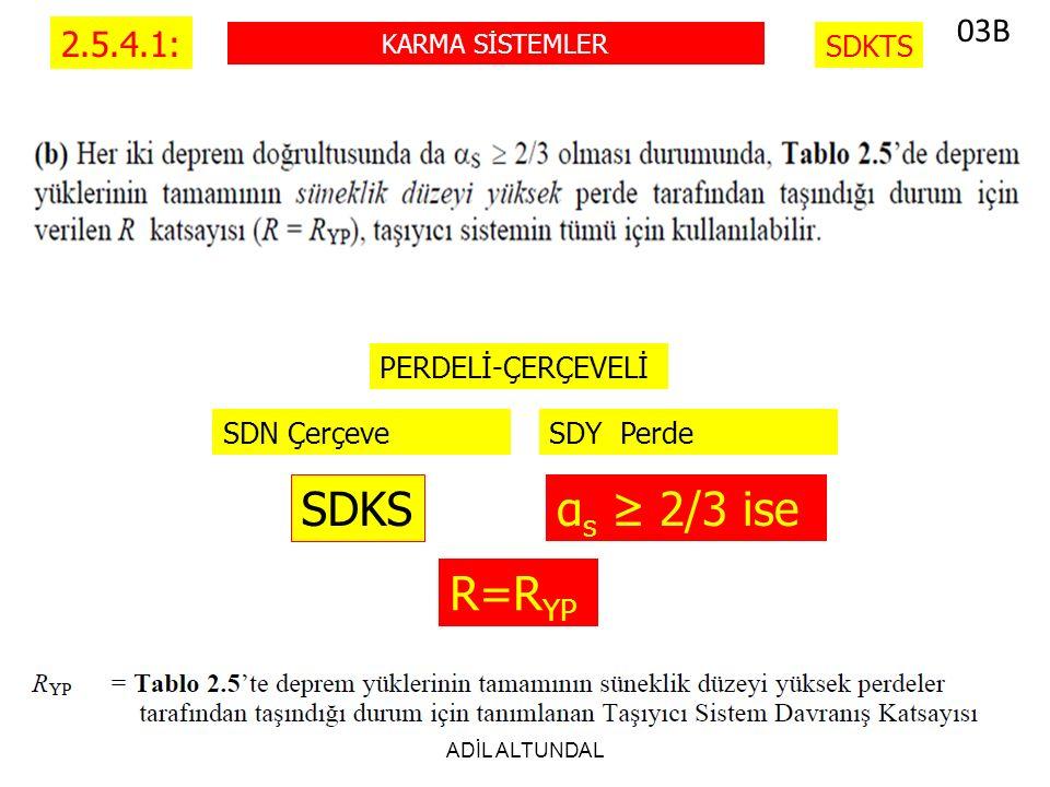 ADİL ALTUNDAL 2.5.4.1: KARMA SİSTEMLER SDKTS SDY PerdeSDN Çerçeve PERDELİ-ÇERÇEVELİ SDKS α s ≥ 2/3 ise R=R YP 03B