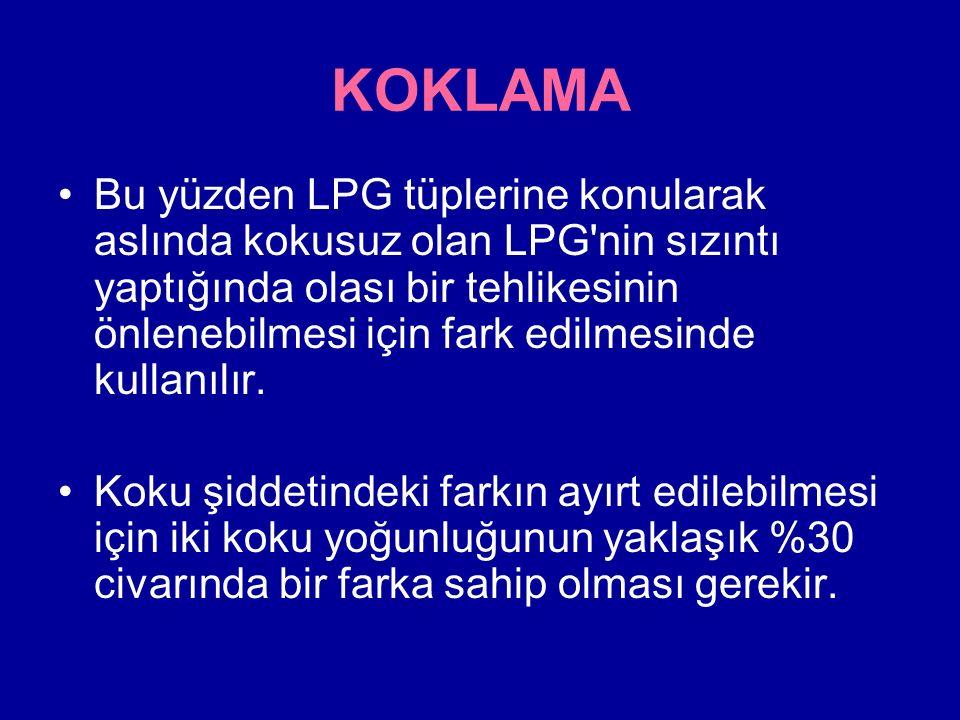 KOKLAMA Bu yüzden LPG tüplerine konularak aslında kokusuz olan LPG nin sızıntı yaptığında olası bir tehlikesinin önlenebilmesi için fark edilmesinde kullanılır.