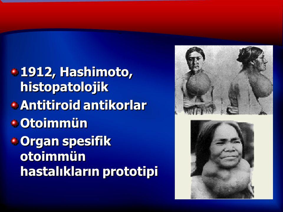 TANIM 1912, Hashimoto, histopatolojik Antitiroid antikorlar Otoimmün Organ spesifik otoimmün hastalıkların prototipi 1912, Hashimoto, histopatolojik Antitiroid antikorlar Otoimmün Organ spesifik otoimmün hastalıkların prototipi