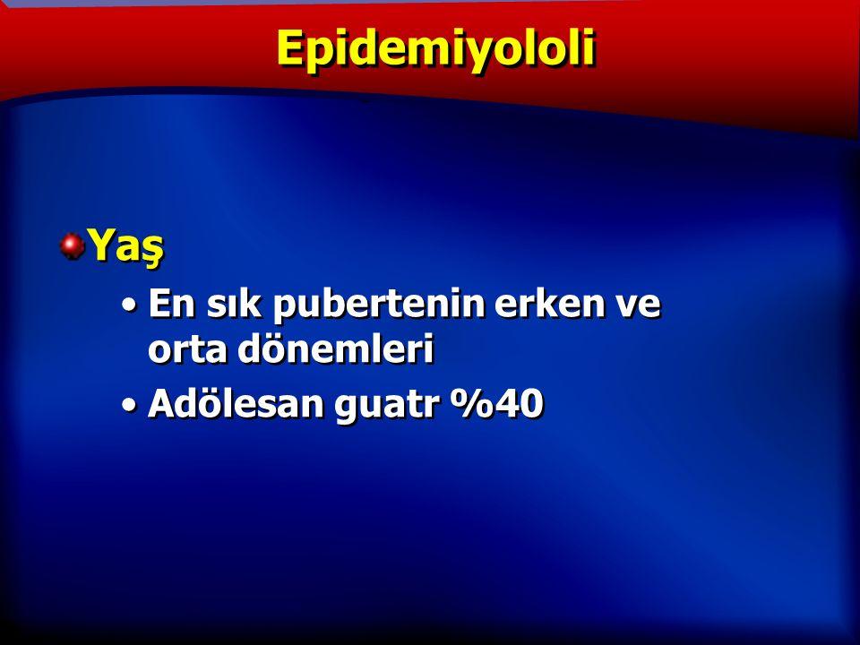 TANIM Yaş En sık pubertenin erken ve orta dönemleri Adölesan guatr %40 Yaş En sık pubertenin erken ve orta dönemleri Adölesan guatr %40 Epidemiyololi