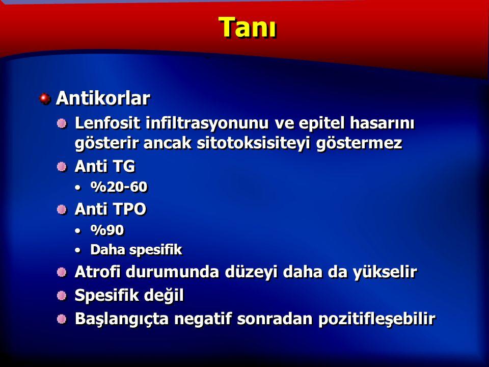 TANIM Antikorlar Lenfosit infiltrasyonunu ve epitel hasarını gösterir ancak sitotoksisiteyi göstermez Anti TG %20-60 Anti TPO %90 Daha spesifik Atrofi durumunda düzeyi daha da yükselir Spesifik değil Başlangıçta negatif sonradan pozitifleşebilir Antikorlar Lenfosit infiltrasyonunu ve epitel hasarını gösterir ancak sitotoksisiteyi göstermez Anti TG %20-60 Anti TPO %90 Daha spesifik Atrofi durumunda düzeyi daha da yükselir Spesifik değil Başlangıçta negatif sonradan pozitifleşebilir Tanı