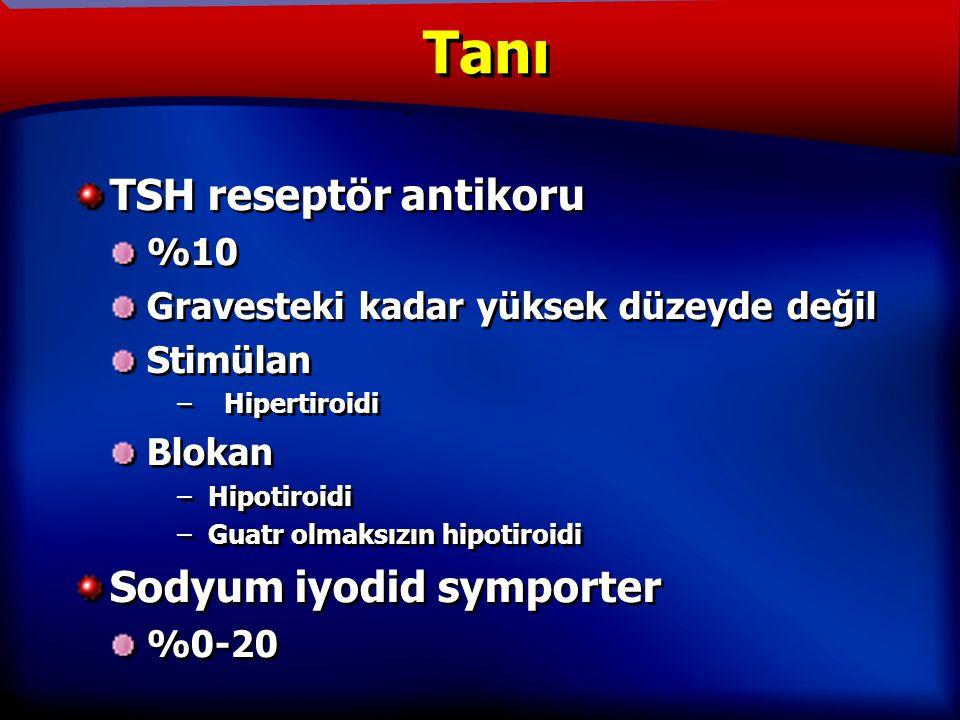 TANIM TSH reseptör antikoru %10 Gravesteki kadar yüksek düzeyde değil Stimülan – Hipertiroidi Blokan –Hipotiroidi –Guatr olmaksızın hipotiroidi Sodyum iyodid symporter %0-20 TSH reseptör antikoru %10 Gravesteki kadar yüksek düzeyde değil Stimülan – Hipertiroidi Blokan –Hipotiroidi –Guatr olmaksızın hipotiroidi Sodyum iyodid symporter %0-20 Tanı