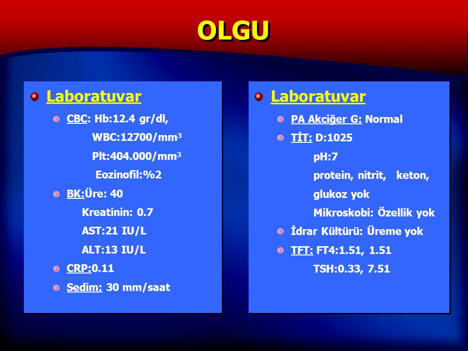 OLGU Laboratuvar CBC: Hb:12.4 gr/dl, WBC:12700/mm 3 Plt:404.000/mm 3 Eozinofil:%2 BK:Üre: 40 Kreatinin: 0.7 AST:21 IU/L ALT:13 IU/L CRP:0.11 Sedim: 30 mm/saat Laboratuvar CBC: Hb:12.4 gr/dl, WBC:12700/mm 3 Plt:404.000/mm 3 Eozinofil:%2 BK:Üre: 40 Kreatinin: 0.7 AST:21 IU/L ALT:13 IU/L CRP:0.11 Sedim: 30 mm/saat Laboratuvar PA Akciğer G: Normal TİT: D:1025 pH:7 protein, nitrit, keton, glukoz yok Mikroskobi: Özellik yok İdrar Kültürü: Üreme yok TFT: FT4:1.51, 1.51 TSH:0.33, 7.51 Laboratuvar PA Akciğer G: Normal TİT: D:1025 pH:7 protein, nitrit, keton, glukoz yok Mikroskobi: Özellik yok İdrar Kültürü: Üreme yok TFT: FT4:1.51, 1.51 TSH:0.33, 7.51