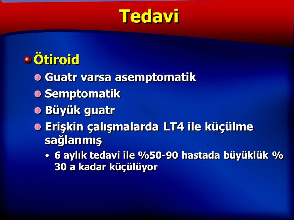 TANIM Ötiroid Guatr varsa asemptomatik Semptomatik Büyük guatr Erişkin çalışmalarda LT4 ile küçülme sağlanmış 6 aylık tedavi ile %50-90 hastada büyüklük % 30 a kadar küçülüyor Ötiroid Guatr varsa asemptomatik Semptomatik Büyük guatr Erişkin çalışmalarda LT4 ile küçülme sağlanmış 6 aylık tedavi ile %50-90 hastada büyüklük % 30 a kadar küçülüyor Tedavi
