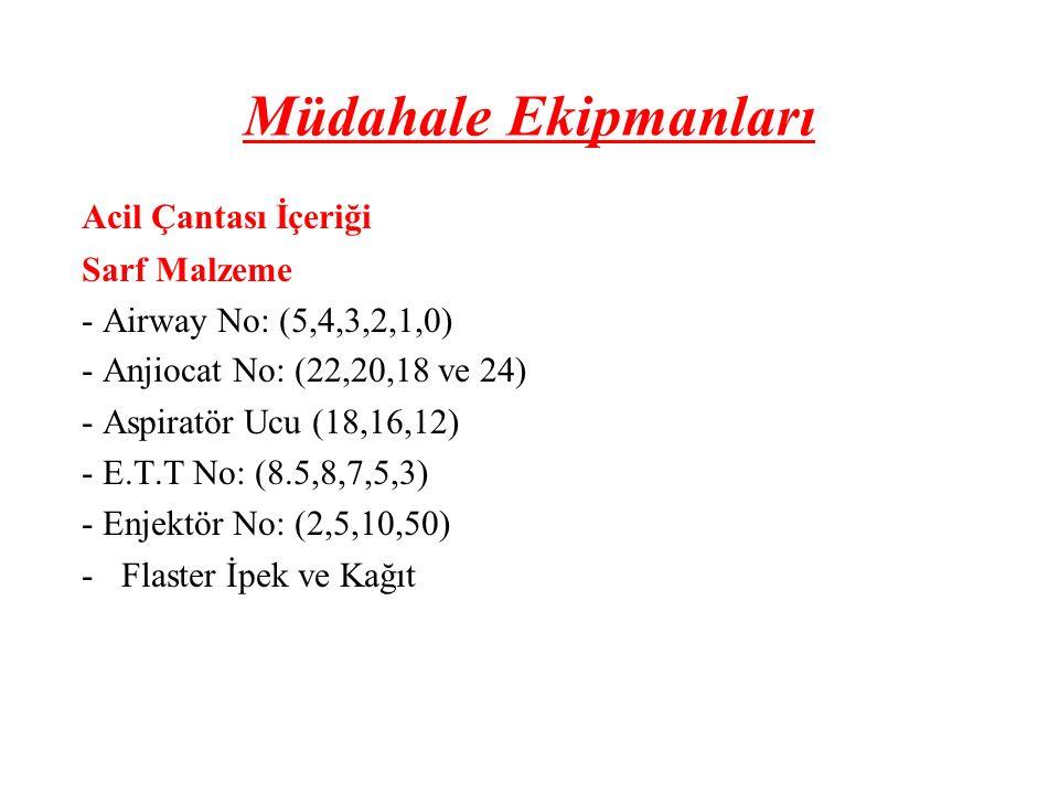Müdahale Ekipmanları Acil Çantası İçeriği Sarf Malzeme - Airway No: (5,4,3,2,1,0) - Anjiocat No: (22,20,18 ve 24) - Aspiratör Ucu (18,16,12) - E.T.T N
