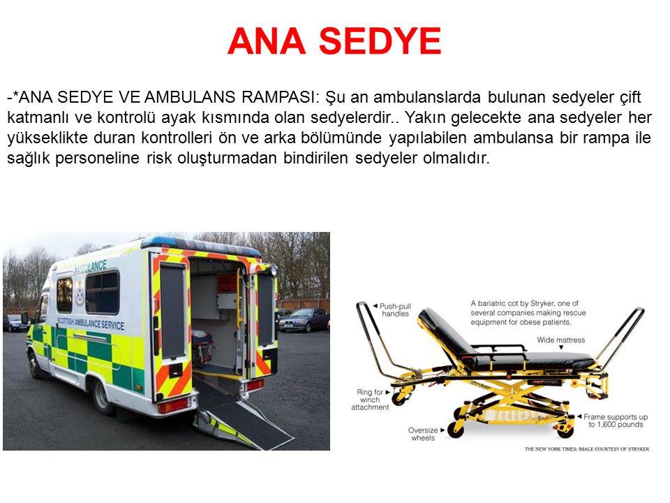 ANA SEDYE -*ANA SEDYE VE AMBULANS RAMPASI: Şu an ambulanslarda bulunan sedyeler çift katmanlı ve kontrolü ayak kısmında olan sedyelerdir.. Yakın gelec
