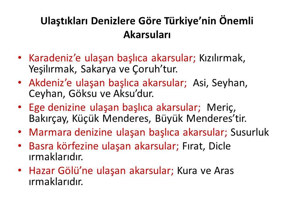Ulaştıkları Denizlere Göre Türkiye'nin Önemli Akarsuları Karadeniz'e ulaşan başlıca akarsular; Kızılırmak, Yeşilırmak, Sakarya ve Çoruh'tur. Akdeniz'e