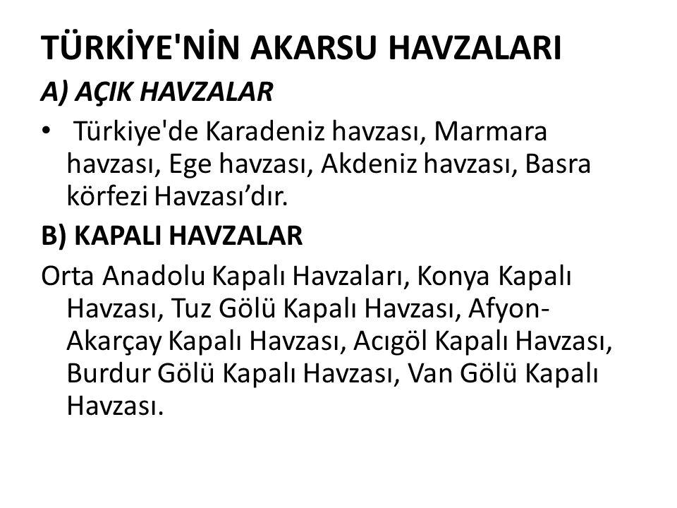 TÜRKİYE'NİN AKARSU HAVZALARI A) AÇIK HAVZALAR Türkiye'de Karadeniz havzası, Marmara havzası, Ege havzası, Akdeniz havzası, Basra körfezi Havzası'dır.
