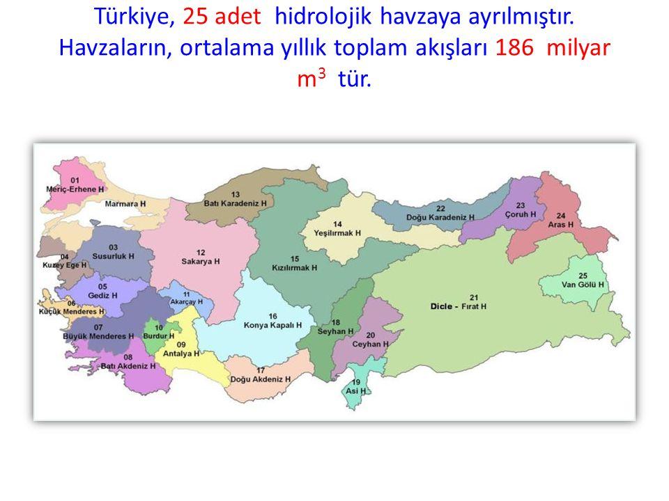 Türkiye, 25 adet hidrolojik havzaya ayrılmıştır. Havzaların, ortalama yıllık toplam akışları 186 milyar m 3 tür.