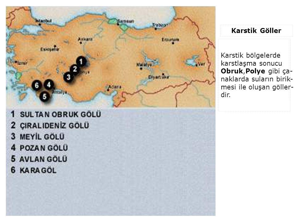 Karstik Göller Karstik bölgelerde karstlaşma sonucu Obruk,Polye gibi ça- naklarda suların birik- mesi ile oluşan göller- dir.