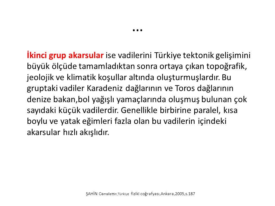 … İkinci grup akarsular ise vadilerini Türkiye tektonik gelişimini büyük ölçüde tamamladıktan sonra ortaya çıkan topoğrafik, jeolojik ve klimatik koşu