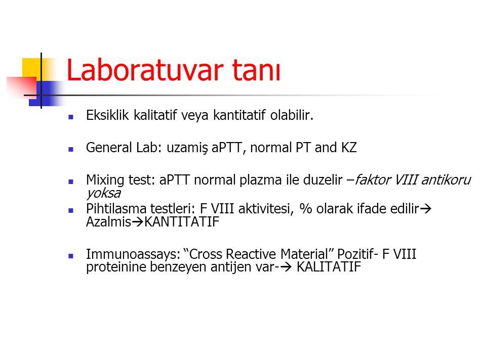 Laboratuvar tanı Eksiklik kalitatif veya kantitatif olabilir.