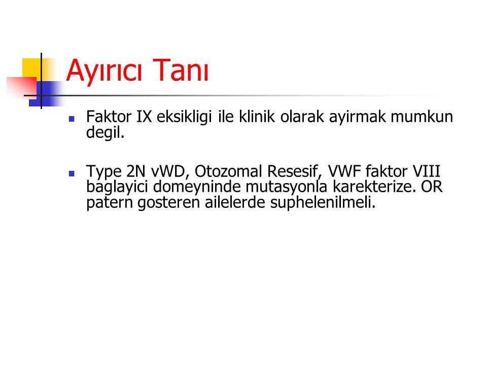 Ayırıcı Tanı Faktor IX eksikligi ile klinik olarak ayirmak mumkun degil.