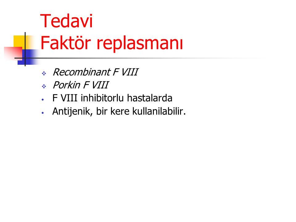 Tedavi Faktör replasmanı  Recombinant F VIII  Porkin F VIII F VIII inhibitorlu hastalarda Antijenik, bir kere kullanilabilir.