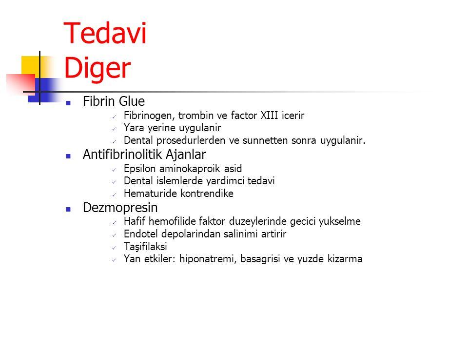 Tedavi Diger Fibrin Glue Fibrinogen, trombin ve factor XIII icerir Yara yerine uygulanir Dental prosedurlerden ve sunnetten sonra uygulanir.