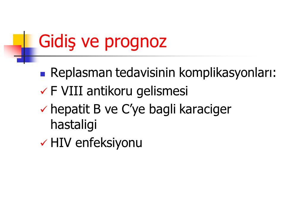 Gidiş ve prognoz Replasman tedavisinin komplikasyonları: F VIII antikoru gelismesi hepatit B ve C'ye bagli karaciger hastaligi HIV enfeksiyonu