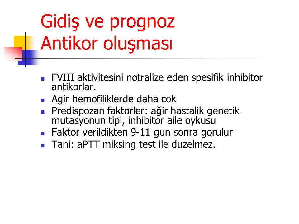 Gidiş ve prognoz Antikor oluşması FVIII aktivitesini notralize eden spesifik inhibitor antikorlar.