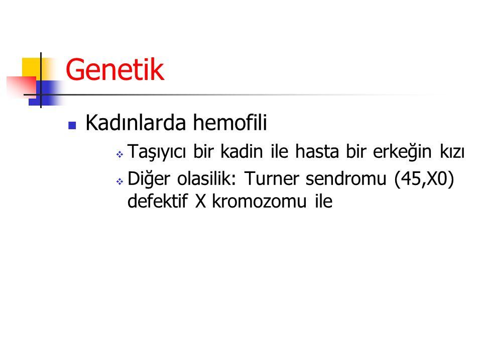 Genetik Kadınlarda hemofili  Taşıyıcı bir kadin ile hasta bir erkeğin kızı  Diğer olasilik: Turner sendromu (45,X0) defektif X kromozomu ile
