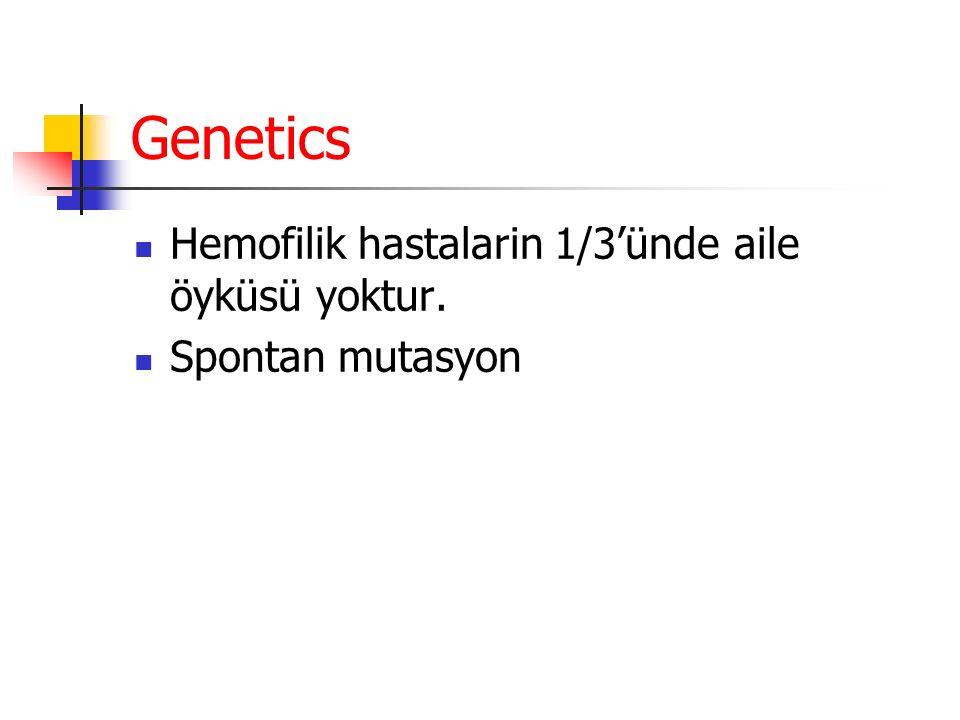 Genetics Hemofilik hastalarin 1/3'ünde aile öyküsü yoktur. Spontan mutasyon