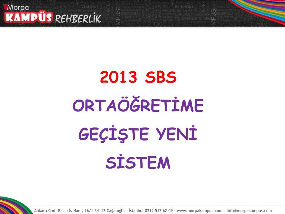 2013 SBS ORTAÖĞRETİME GEÇİŞTE YENİ SİSTEM