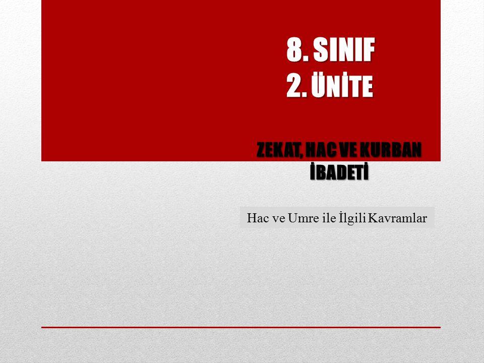 8. SINIF 2. ÜNİTE 8. SINIF 2. ÜNİTE ZEKAT, HAC VE KURBAN İBADETİ Hac ve Umre ile İlgili Kavramlar