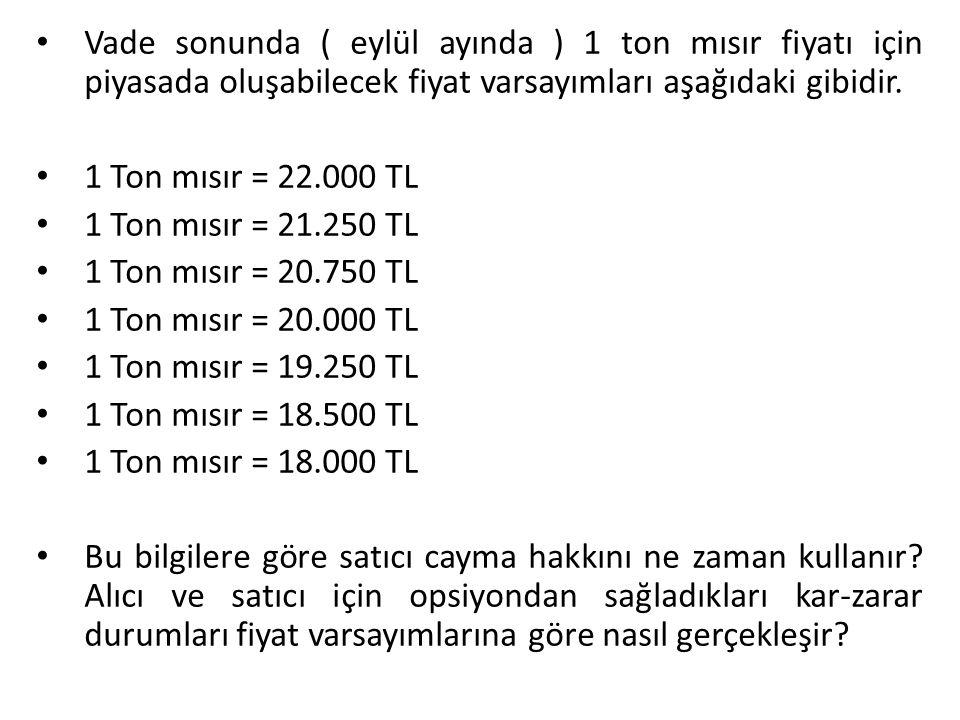 Vade sonunda ( eylül ayında ) 1 ton mısır fiyatı için piyasada oluşabilecek fiyat varsayımları aşağıdaki gibidir.