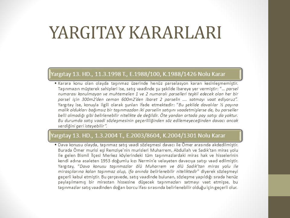 YARGITAY KARARLARI Yargıtay 13.