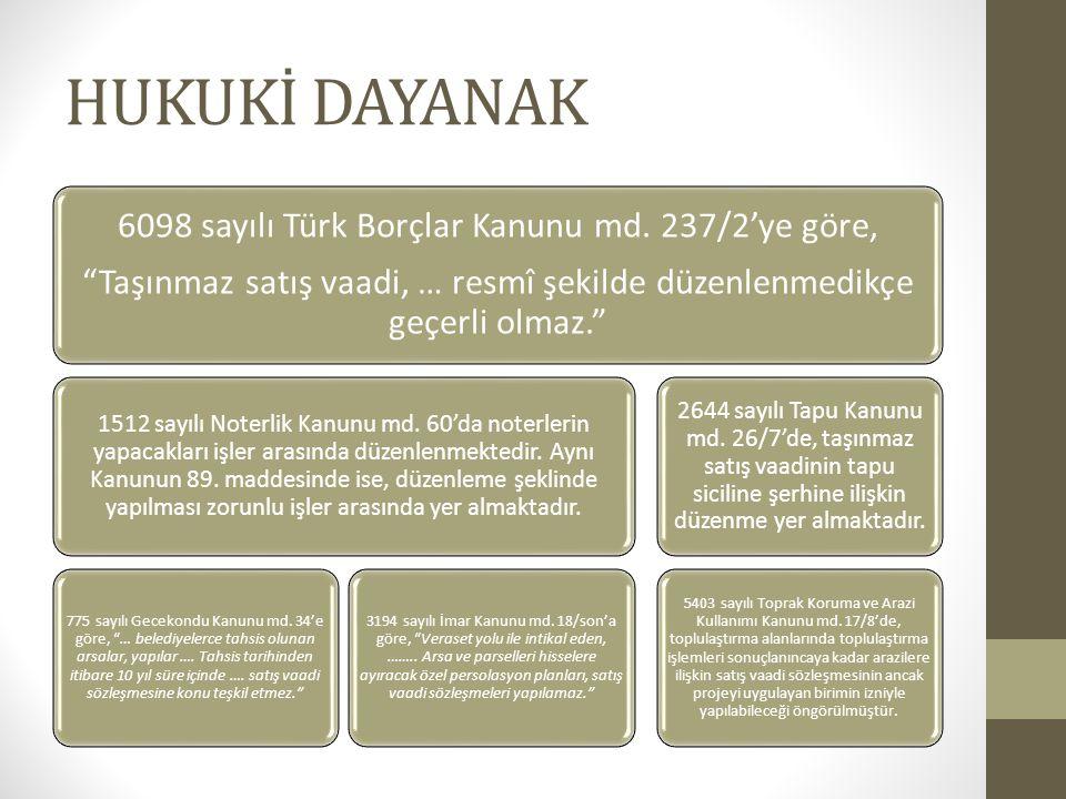 """HUKUKİ DAYANAK 6098 sayılı Türk Borçlar Kanunu md. 237/2'ye göre, """"Taşınmaz satış vaadi, … resmî şekilde düzenlenmedikçe geçerli olmaz."""" 1512 sayılı N"""