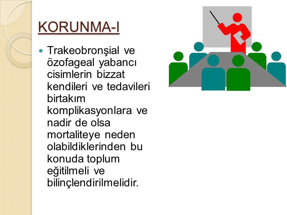 KORUNMA-I Trakeobronşial ve özofageal yabancı cisimlerin bizzat kendileri ve tedavileri birtakım komplikasyonlara ve nadir de olsa mortaliteye neden o