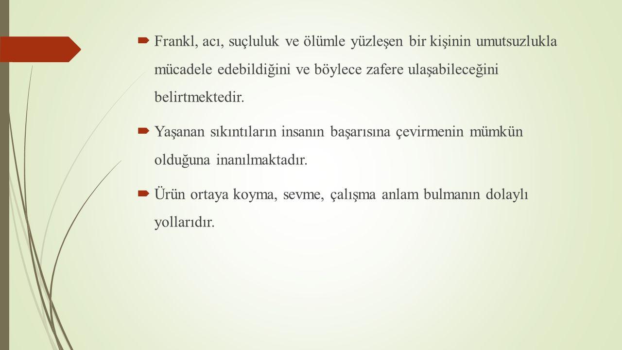  Frankl, acı, suçluluk ve ölümle yüzleşen bir kişinin umutsuzlukla mücadele edebildiğini ve böylece zafere ulaşabileceğini belirtmektedir.  Yaşanan