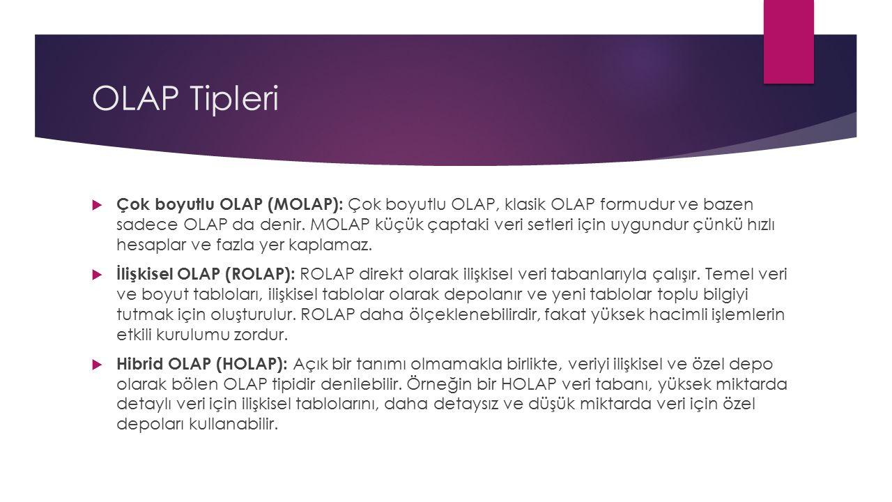 OLAP Tipleri  Çok boyutlu OLAP (MOLAP): Çok boyutlu OLAP, klasik OLAP formudur ve bazen sadece OLAP da denir. MOLAP küçük çaptaki veri setleri için u
