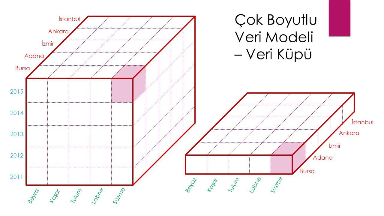 İstanbul Ankara İzmir Bursa Adana 2015 2014 2013 2012 2011 Beyaz Kaşar Tulum Labne Süzme İstanbul Ankara İzmir Bursa Adana Beyaz Kaşar Tulum Labne Süzme Çok Boyutlu Veri Modeli – Veri Küpü