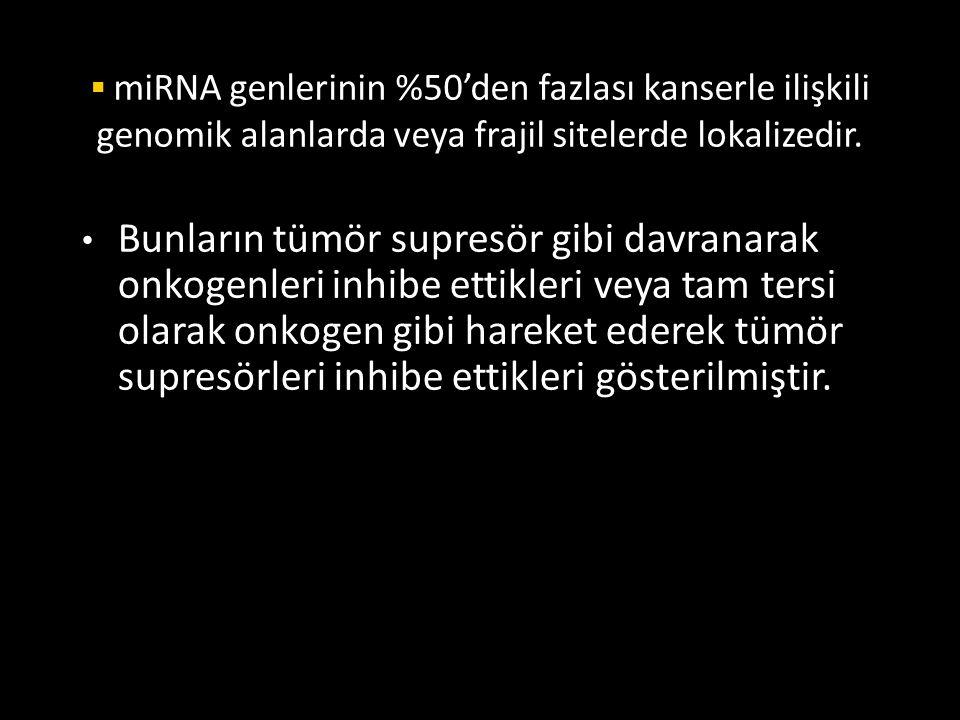  miRNA genlerinin %50'den fazlası kanserle ilişkili genomik alanlarda veya frajil sitelerde lokalizedir. Bunların tümör supresör gibi davranarak onko