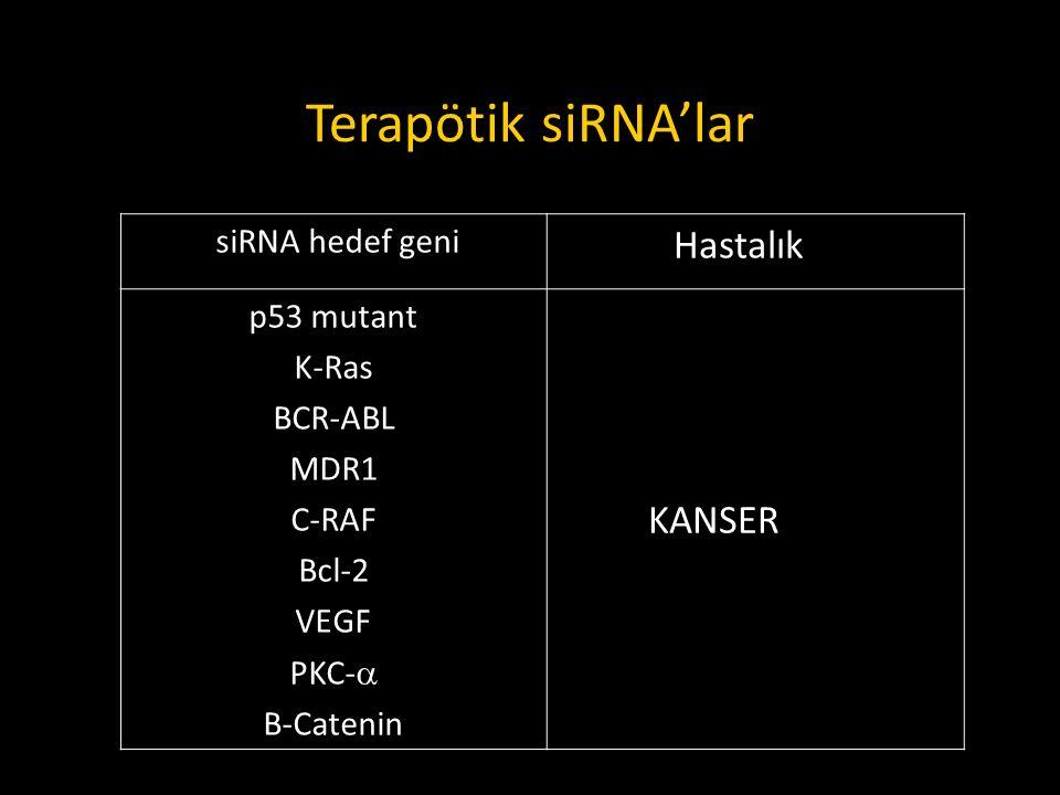 Terapötik siRNA'lar siRNA hedef geni Hastalık p53 mutant K-Ras BCR-ABL MDR1 C-RAF Bcl-2 VEGF PKC-  Β-Catenin KANSER